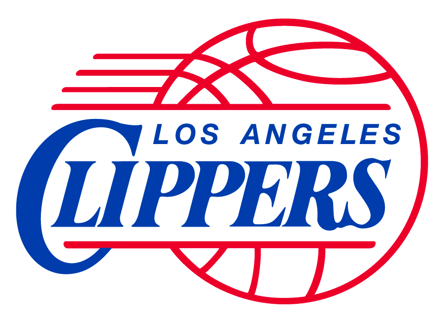 Los Angeles Clippers Logo Primary Logo (1984/85-2009/10) - Clippers in blue italics inside a red basketball SportsLogos.Net