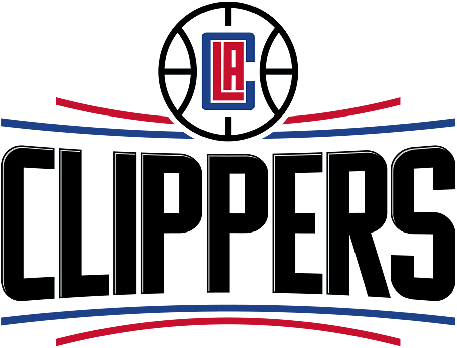 Los Angeles Clippers Logo Primary Logo (2018/19-Pres) - The LA Clippers logo shows CLIPPERS in black with a silver lining in between two arched horizontal red and blue lines on either side. A basketball with an \\\