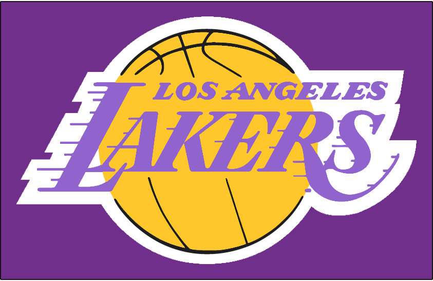Los Angeles Lakers Logo Primary Dark Logo (1976/77-1998/99) - Los Angeles Lakers logo on purple SportsLogos.Net