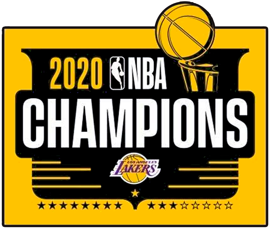 Los Angeles Lakers Logo Champion Logo (2019/20) - The Los Angeles Lakers 2020 NBA Champions logo features a black shield on a yellow rectangle, within the shield is the Larry O'Brien Trophy, the Lakers logo at the bottom, and 17 stars. The 17 stars represent the NBA championships in the team's history with five yellow stars for the titles won in Minneapolis, 11 black stars for their previous Los Angeles titles, and one gold star centred representing the 2020 championship SportsLogos.Net