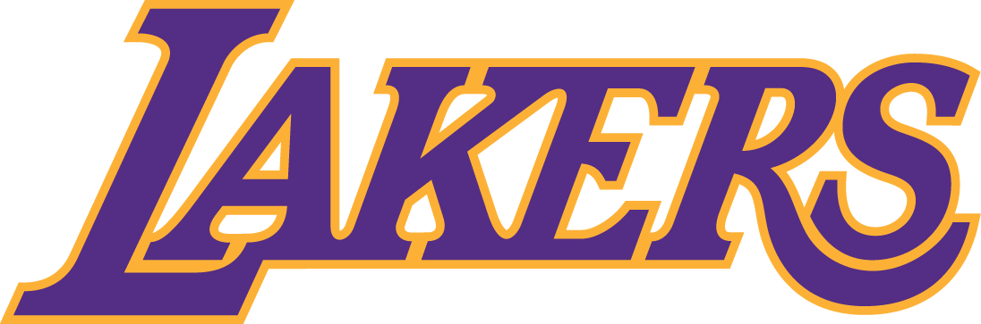Los Angeles Lakers Logo Wordmark Logo (2001/02-Pres) - Lakers in purple outlined in yellow, worn on Los Angeles Lakers home jersey SportsLogos.Net