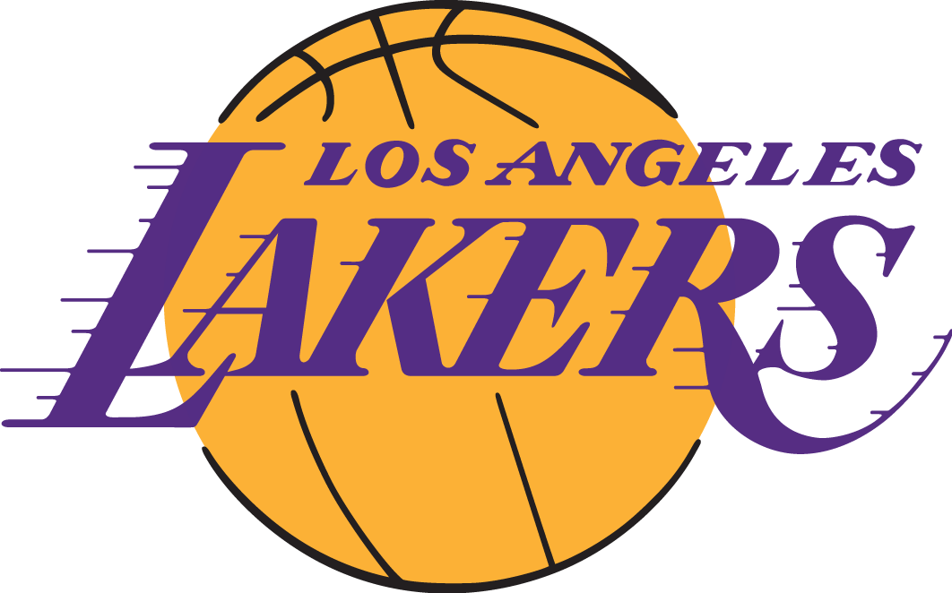Los Angeles Lakers Logo Primary Logo (2001/02-Pres) - Lakers in purple italics on a yellow basketball SportsLogos.Net