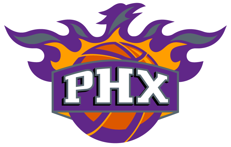 Phoenix Suns Logo Alternate Logo (2000/01-2012/13) - 'PHX' against a basketball in flames forming the shape of a Phoenix. SportsLogos.Net