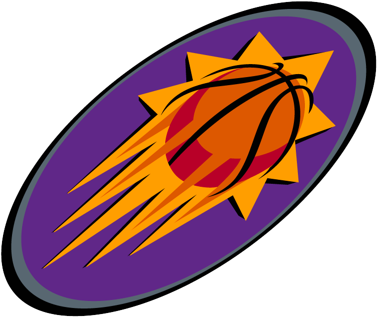 Phoenix Suns Logo Alternate Logo (2000/01-2012/13) - A sun with basketball seams on a purple oval SportsLogos.Net