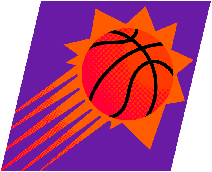 Phoenix Suns Logo Alternate Logo (1992/93-1999/00) - A streaking orange sun with basketball markings on it placed on a purple rectangle SportsLogos.Net