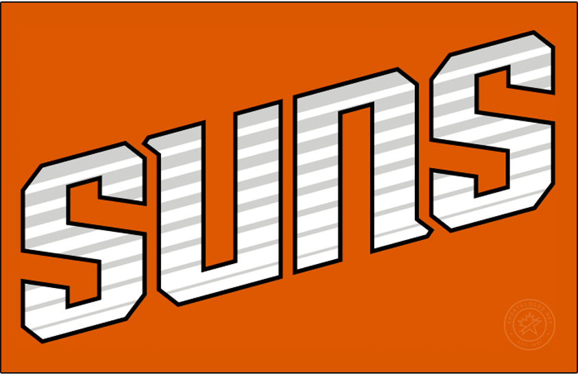 Phoenix Suns Logo Jersey Logo (2013/14-2018/19) - SUNS in white positioned diagonally with streak marks running through it and worn on an orange alternate uniform. SportsLogos.Net