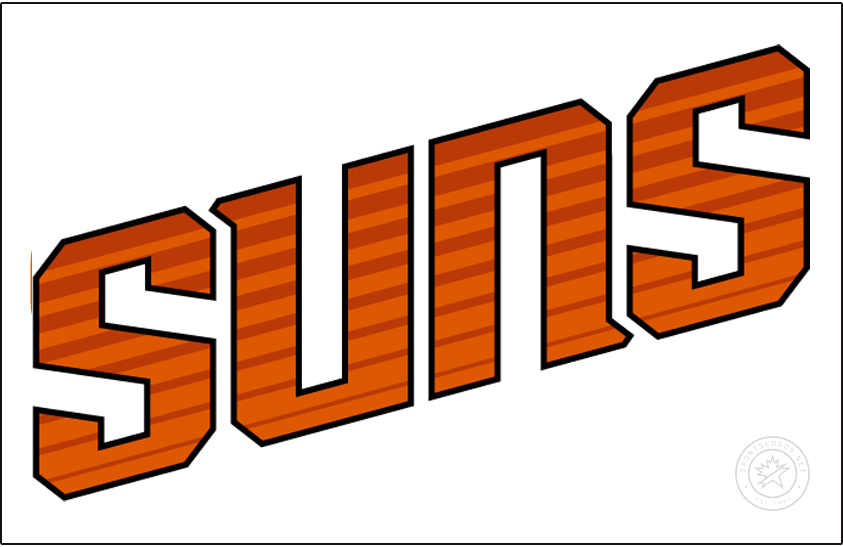 Phoenix Suns Logo Jersey Logo (2013/14-2018/19) - SUNS in orange positioned diagonally with streak marks running through it and worn on a home white uniform. SportsLogos.Net