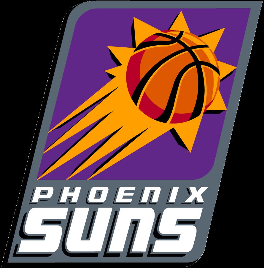 Phoenix Suns Logo Primary Logo (2000/01-2012/13) - An orange sun with basketball seams on a purple rounded rectangle, Phoenix Suns written below on grey SportsLogos.Net