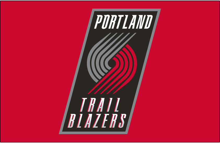 Portland Trail Blazers Logo Primary Dark Logo (2004/05-2016/17) - Primary on Red SportsLogos.Net