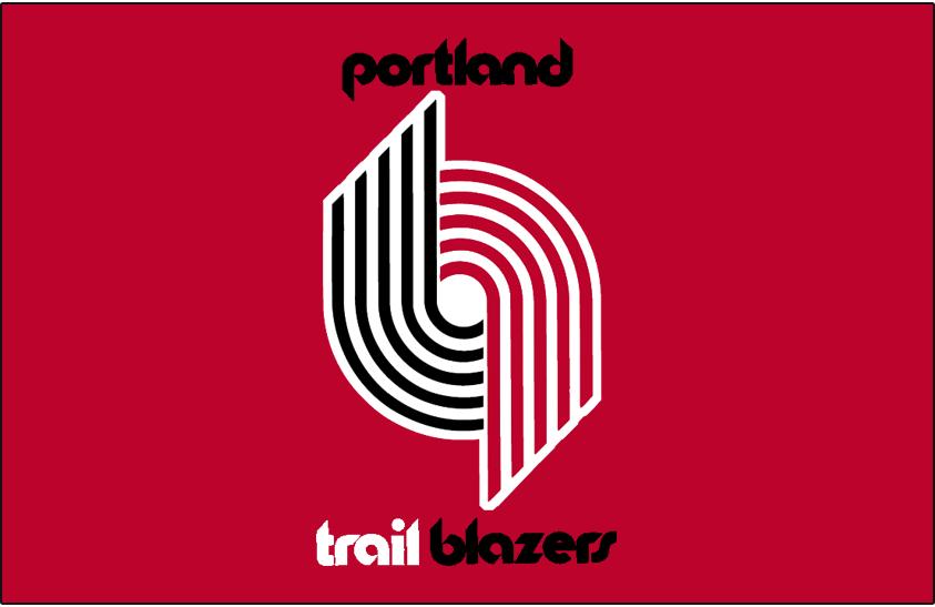 Portland Trail Blazers Logo Primary Dark Logo (1970/71-1989/90) - Primary Trail Blazers Logo on Red SportsLogos.Net