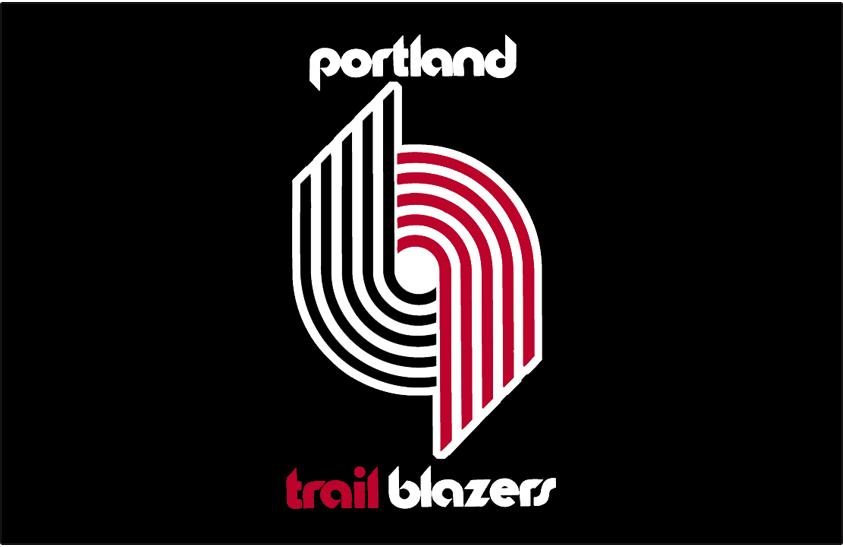 Portland Trail Blazers Logo Primary Dark Logo (1970/71-1989/90) - Primary Trail Blazers Logo on Black SportsLogos.Net