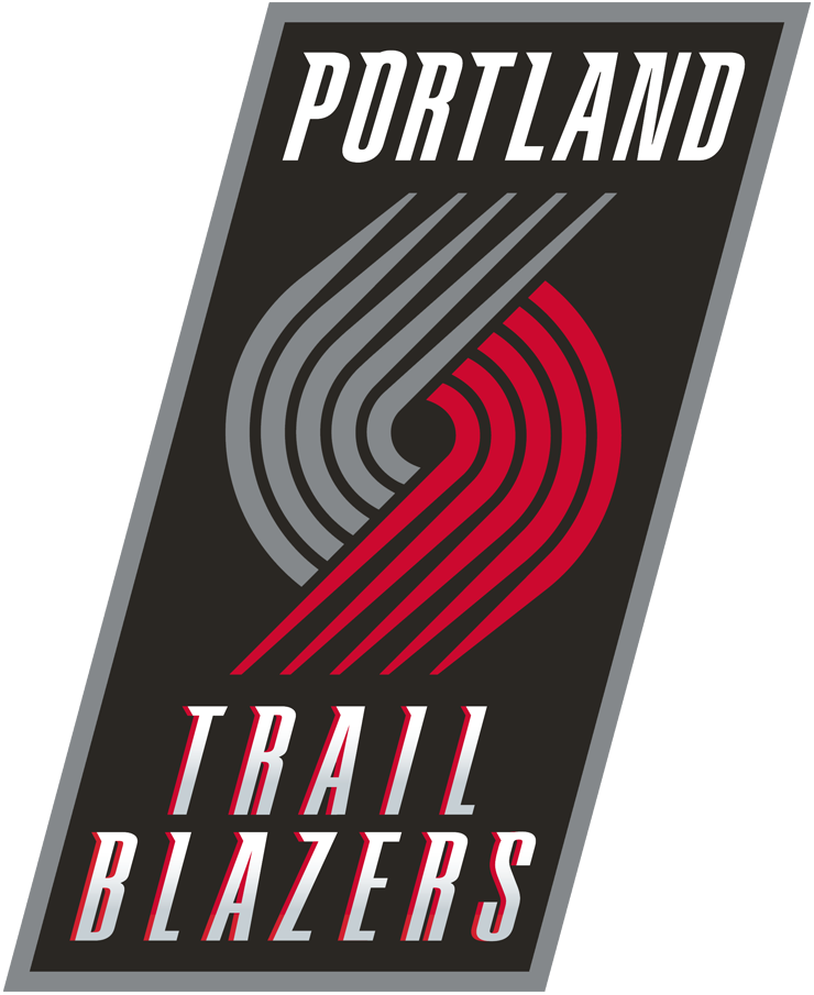 Portland Trail Blazers Logo Primary Logo (2004/05-2016/17) - Ten silver and red lines meeting on a back rectangle, team name above and below it SportsLogos.Net