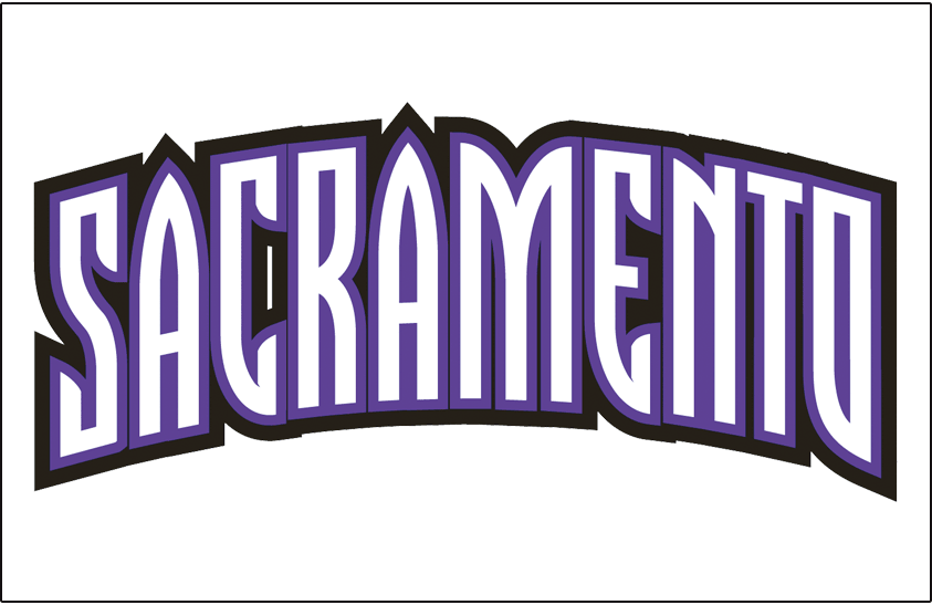 Sacramento Kings Logo Jersey Logo (2008/09-2013/14) - SACRAMENTO in white with purple and black trim, worn on Sacramento Kings home jersey from 2008-09 until 2013-14 SportsLogos.Net