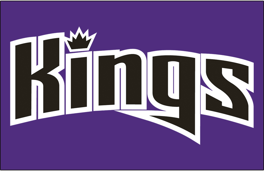 Sacramento Kings Logo Jersey Logo (2008/09-2013/14) - Kings in black script with a crown dotting the i on purple, worn on Sacramento road jersey from 2008-09 until 2013-14 SportsLogos.Net
