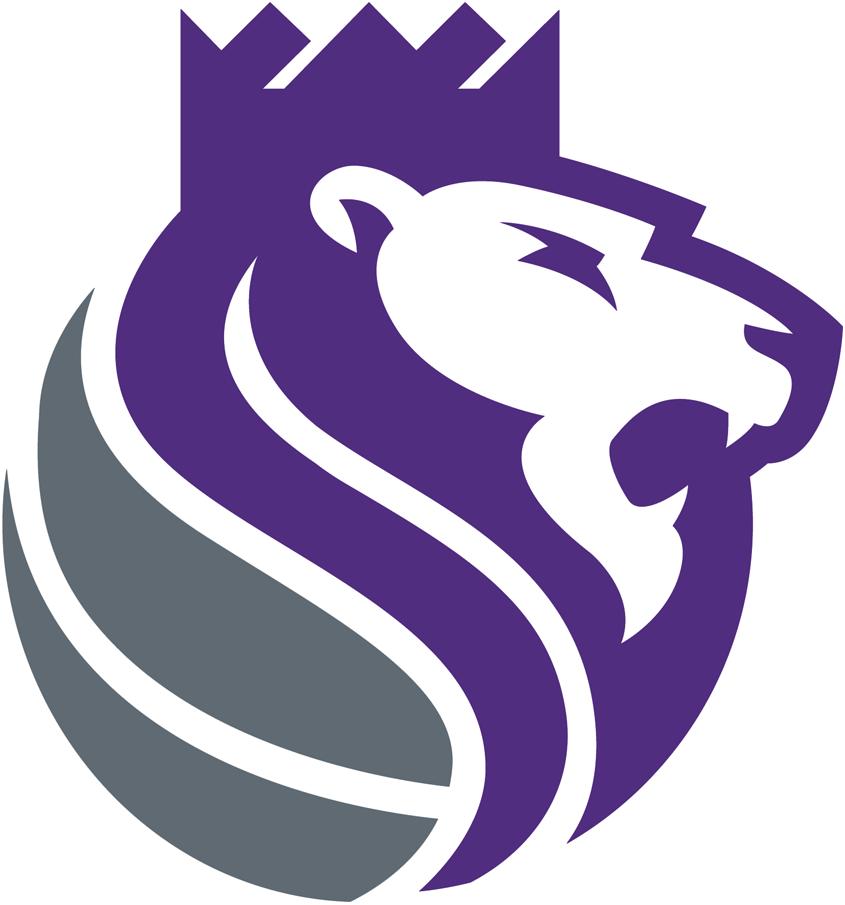 Sacramento Kings Logo Alternate Logo (2016/17-Pres) - A purple and silver lion wearing a crown, roaring SportsLogos.Net