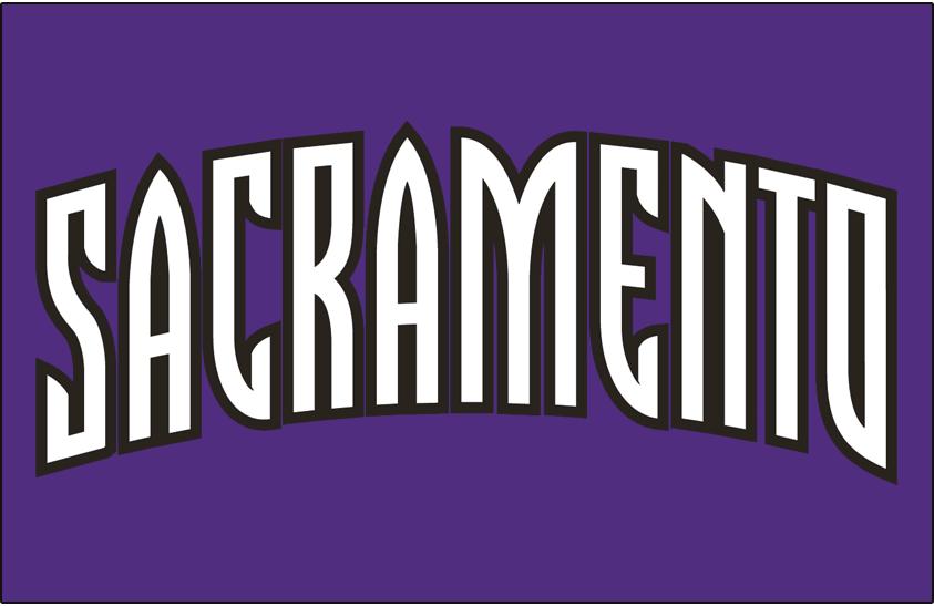 Sacramento Kings Logo Jersey Logo (2002/03-2007/08) - Sacramento in white and black arched script on purple, worn on Sacramento Kings road jersey from 2002-03 until 2007-08 SportsLogos.Net