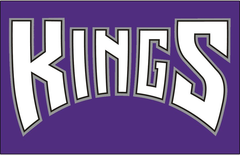 Sacramento Kings Logo Jersey Logo (1997/98-2001/02) - Kings in white with black and silver outlines on purple, worn on Sacramento Kings alternate jersey from 1997-98 through 2001-02 and on their roads starting in 2014-15  SportsLogos.Net