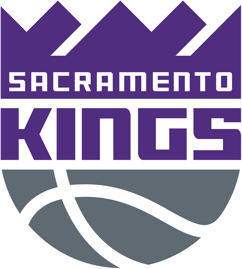 Sacramento Kings Logo Primary Logo (2016/17-Pres) - KINGS in purple in between a purple crown and a silver basketball SportsLogos.Net
