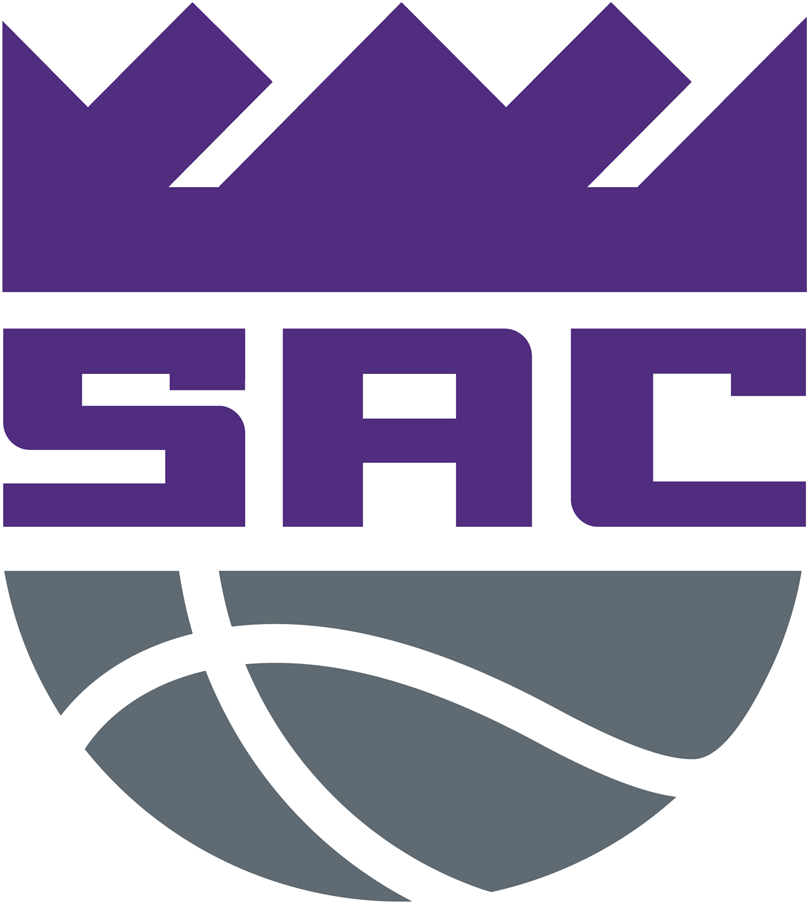 Sacramento Kings Logo Alternate Logo (2016/17-Pres) - SAC in purple in between a purple crown and a silver basketball SportsLogos.Net