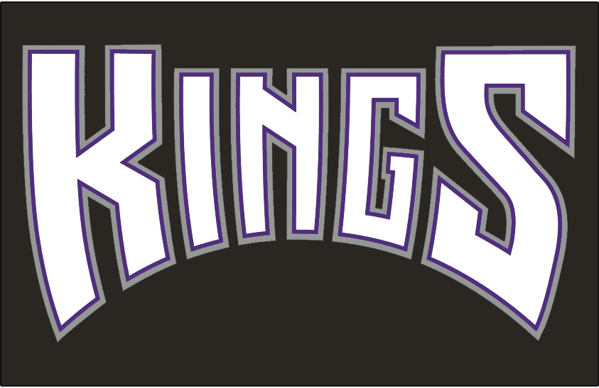 Sacramento Kings Logo Jersey Logo (1994/95-2001/02) - Kings in white with purple and silver outlines on black, worn on Sacramento Kings road jersey from 1994-95 until 2001-02 SportsLogos.Net