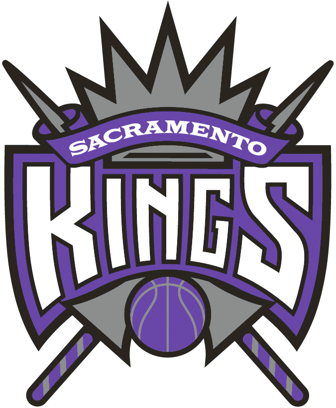 Sacramento Kings Logo Primary Logo (1994/95-2015/16) - Team name purple ribbons on silver crown and jousting sticks SportsLogos.Net
