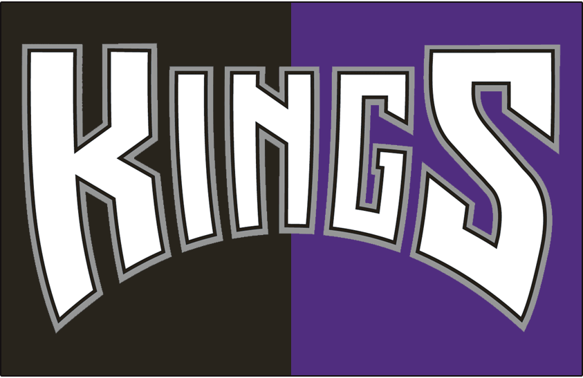 Sacramento Kings Logo Jersey Logo (1994/95-1996/97) - Kings in white with black and silver outlines on black and purple, worn on Sacramento Kings alternate jersey from 1994-95 until 1996-97 SportsLogos.Net