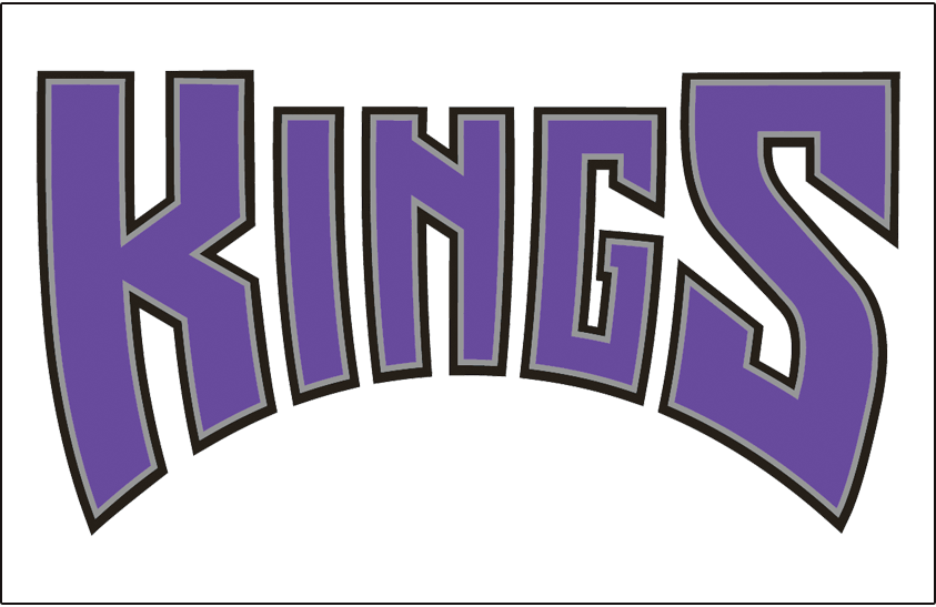 Sacramento Kings Logo Jersey Logo (1994/95-2001/02) - Kings in purple with silver and black outline on white, worn on Sacramento Kings home jersey from 1994-95 through 2001-02 and again starting in 2014-15 SportsLogos.Net