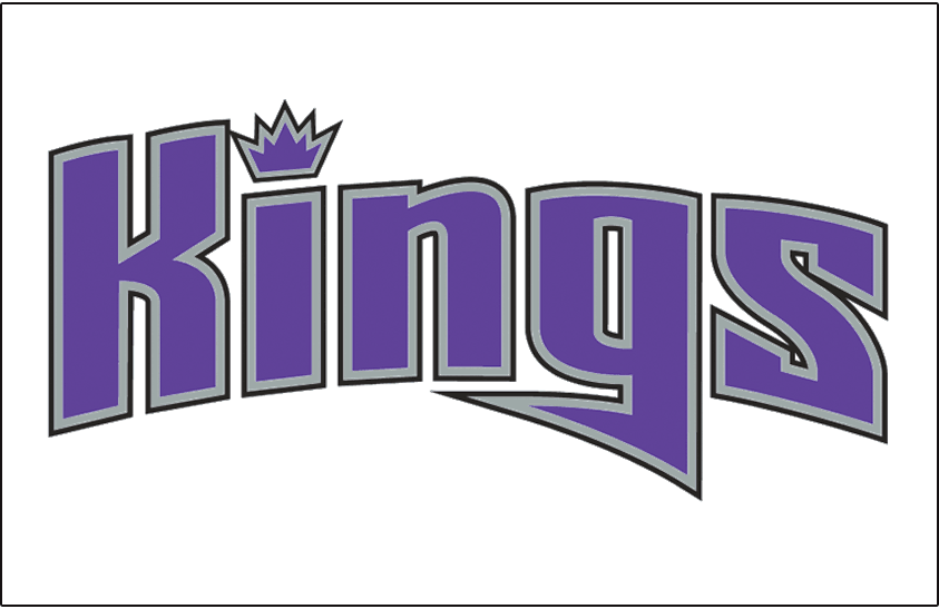 Sacramento Kings Logo Jersey Logo (2002/03-2007/08) - Kings in purple, silver and black lowercase letters with a crown dotting the i, worn on Sacramento Kings home jersey SportsLogos.Net