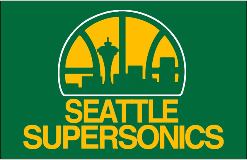 Seattle Supersonics Logo Primary Dark Logo (1975/76-1994/95) - Seattle Supersonics logo on green SportsLogos.Net