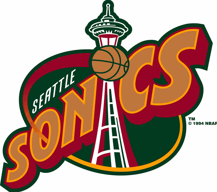 Seattle Supersonics Logo Primary Logo (1995/96-2000/01) - Space Needle forming the I in Sonics on a green oval SportsLogos.Net