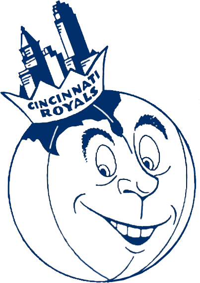 Cincinnati Royals Logo Primary Logo (1957/58-1970/71) - A blue and white basketball with a face wearing a crown with the team name inscribed on it, inside the crown is the skyline of Cincinnati. The basketball doubles as a globe with a map of the United States in the upper left corner, the crown/skyline is placed approximately where the City of Cincinnati would appear on this globe. SportsLogos.Net
