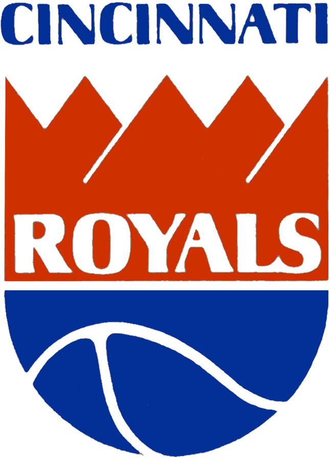 Cincinnati Royals Logo Primary Logo (1971/72) - Blue basketball wearing a red crown, five points on crown represents five starting players on a team SportsLogos.Net