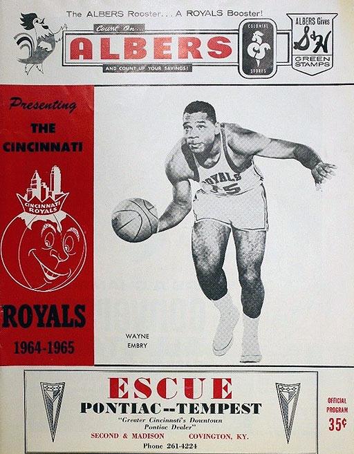 Cincinnati Royals Program Program (1964/65) - Cincinnati Royals program from 1964/65 season, showing Wayne Embry on cover SportsLogos.Net