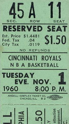 Cincinnati Royals Ticket Stub Ticket Stub (1960/61) - Cincinnati Royals ticket stub from November 1, 1960 SportsLogos.Net