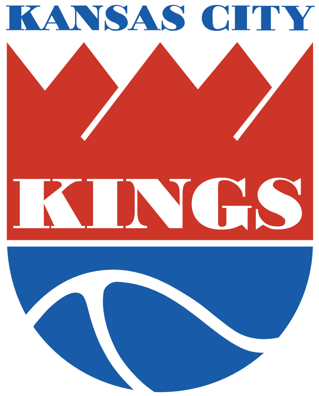 Kansas City Kings Logo Primary Logo (1975/76-1984/85) - Red and blue shield with Kings in white with Kansas City in blue above SportsLogos.Net