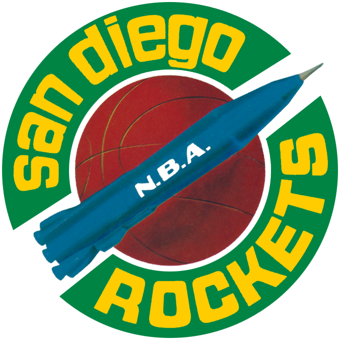 San Diego Rockets Logo Primary Logo (1967/68-1970/71) - A blue rocket on a basketball in the middle of a green ring with the team name in gold. SportsLogos.Net