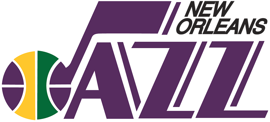 New Orleans Jazz Logo Primary Logo (1974/75-1978/79) - The Jazz franchise began life in New Orleans as the New Orleans Jazz for the 1974-75 NBA season. Their logo, which travelled with them to Utah in 1979, spelled out JAZZ in purple with the J doubling as a musical note. A purple, gold, and green basketball was worked into the J-note and the city name NEW ORLEANS was added in black italics to the upper right. The colour scheme of purple, gold, and green was chosen as it matched those of the famous Mardi Gras celebrations held in New Orleans. SportsLogos.Net