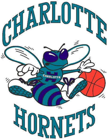 Charlotte Hornets Logo Primary Logo (1988/89-2001/02) - A Hornet dribbing a basketball surrounded by script name SportsLogos.Net
