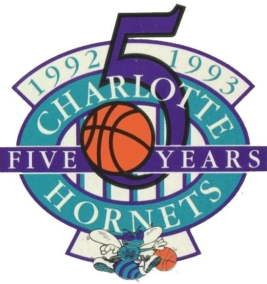 Charlotte Hornets Logo Anniversary Logo (1992/93) - Charlotte Hornets 5th Anniversary Logo SportsLogos.Net