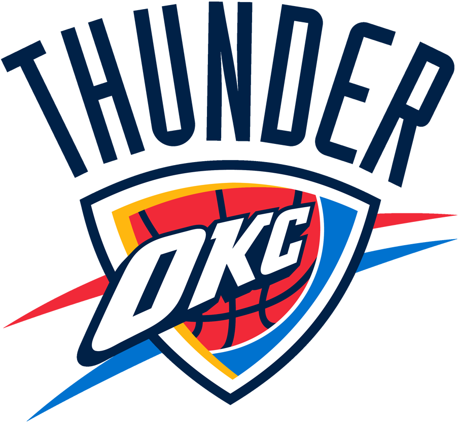 Oklahoma City Thunder Logo Primary Logo (2008/09-Pres) - OKC in white on a blue shield with a basketball with Thunder arched above in blue SportsLogos.Net