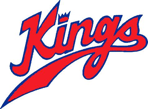 Kansas City-Omaha Kings Logo Wordmark Logo (1972/73-1984/85) - Kings in red with a crown dotting the i SportsLogos.Net