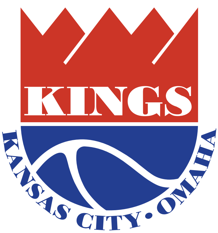 Kansas City-Omaha Kings Logo Primary Logo (1972/73-1974/75) - Red and blue shield with Kings in white and Kansas City-Omaha in blue below SportsLogos.Net