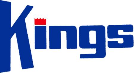 Kansas City-Omaha Kings Logo Wordmark Logo (1972/73-1984/85) - Kings in blue with a red crown dotting the i SportsLogos.Net