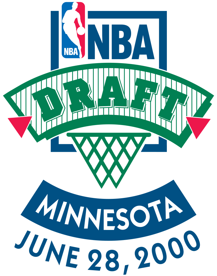 NBA Draft Logo Primary Logo (1999/00) - The 2000 NBA Draft logo continues the NBA Draft logo template which had been in use throughout the past decade, it shows the NBA logo in the top left with DRAFT arched below above a basketball net. The host MINNESOTA is arched below as is the date of the event June 28, 2000. The logo has been coloured blue and green to match the host Minnesota Timberwolves. SportsLogos.Net