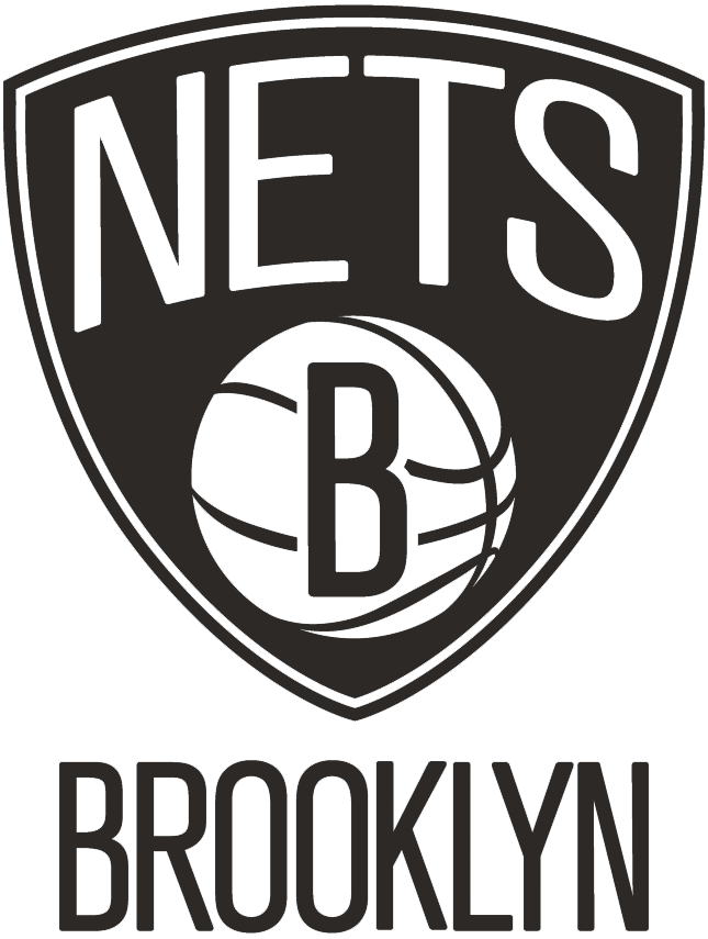 Brooklyn Nets Logo Primary Logo (2012/13-Pres) - NETS in white arched over a white basketball with a black B on it, all within a black shield with BROOKLYN below in black SportsLogos.Net