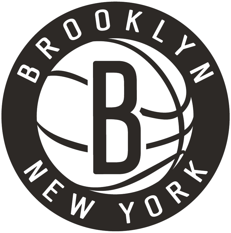 Brooklyn Nets Logo Secondary Logo (2012/13-Pres) - Black B on a white basketball in a black circle surrounded by BROOKLYN NEW YORK SportsLogos.Net