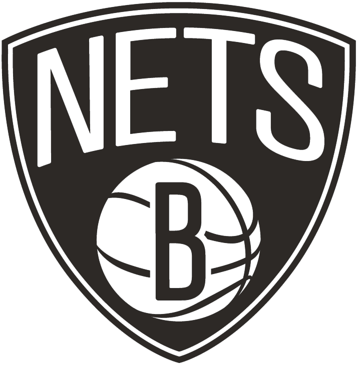 Brooklyn Nets Logo Alternate Logo (2012/13-Pres) - NETS in white arched over a white basketball with a black B on it, all within a black shield SportsLogos.Net