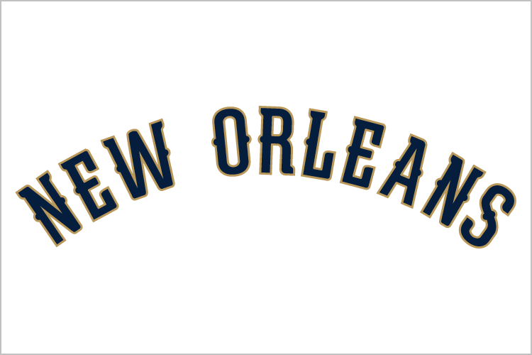 New Orleans Pelicans Logo Wordmark Logo (2013/14-Pres) - NEW ORLEANS in blue outlined in gold, worn on New Orleans Pelicans home uniforms SportsLogos.Net