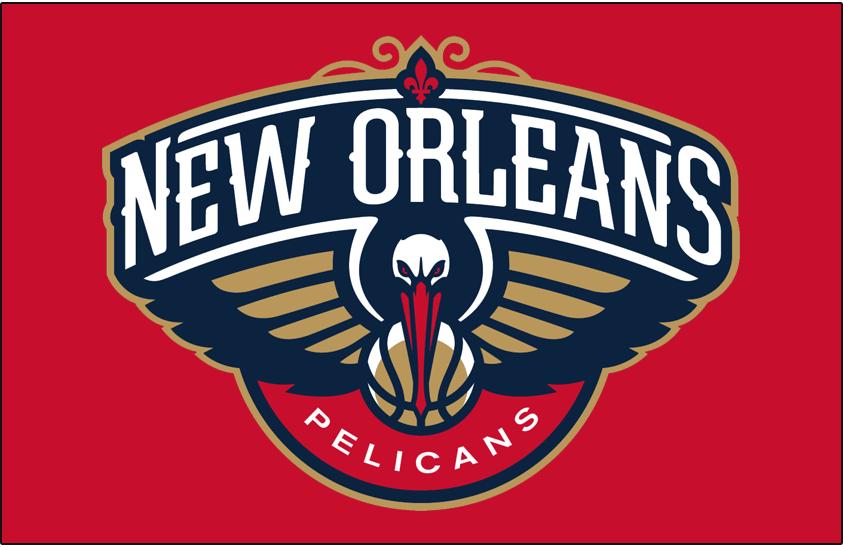 New Orleans Pelicans Logo Primary Dark Logo (2013/14-Pres) - Pelicans logo on red SportsLogos.Net