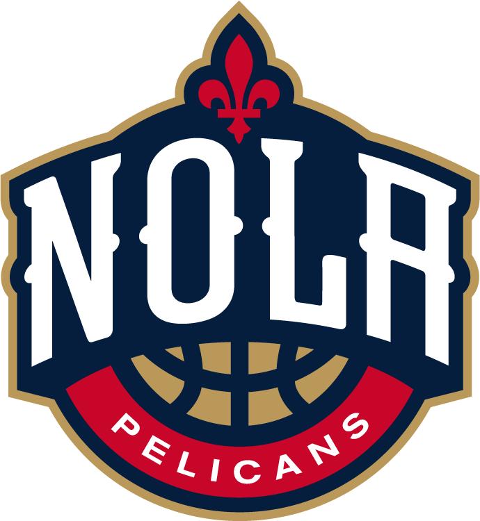 New Orleans Pelicans Logo Secondary Logo (2013/14-Pres) - NOLA in white above a basketball and below a fleur-de-lis SportsLogos.Net
